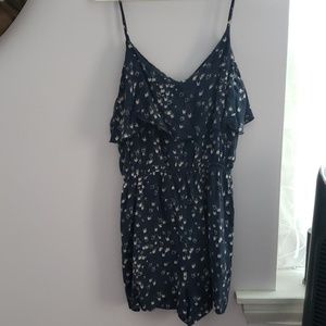 Navy romper with birds and pockets